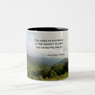 Quote about important things in life. Two-Tone coffee mug