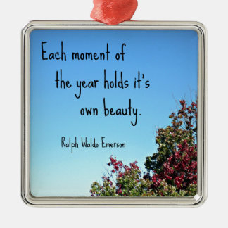 Quote about nature by Emerson. Metal Ornament