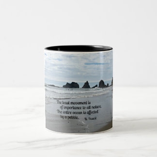 Quote about Nature: The least movement... Two-Tone Coffee Mug