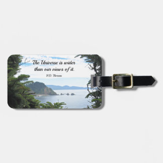 Quote about our views of the universe. bag tag