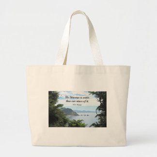 Quote about our views of the universe. jumbo tote bag