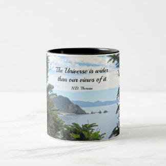 Quote about our views of the universe. Two-Tone coffee mug