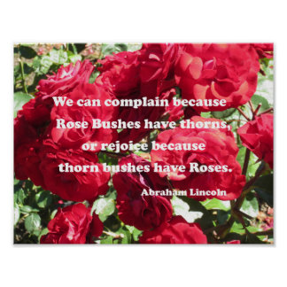 Quote about roses by Abraham Lincoln Poster