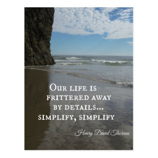 Quote about simplifing life. postcard