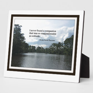 Quote about solitude on River scene. Display Plaque