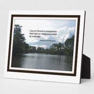 Quote about solitude on River scene. Plaque