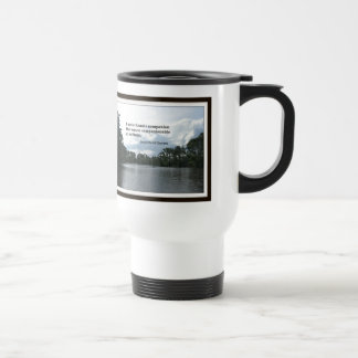 Quote about solitude on River scene. Travel Mug