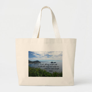 Quote about speaking wisely. large tote bag