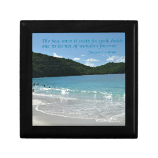 Quote about the Sea, by J. Cousteau Jewelry Box