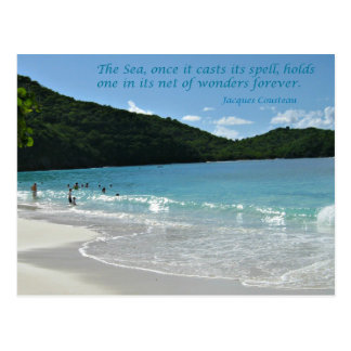 Quote about the Sea, by J. Cousteau Postcard