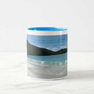 Quote about the Sea, by J. Cousteau Two-Tone Coffee Mug