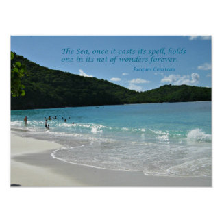 Quote about the Sea, by Jaques Cousteau Poster