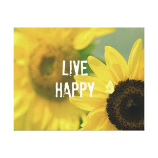 Quote Affirmation Mantra: Live Happy Canvas Print