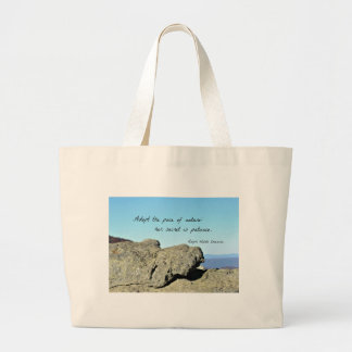Quote by Emerson: Adopt the pace of nature.... Canvas Bags