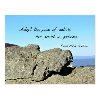 Quote by Emerson: Adopt the pace of nature.... Postcards