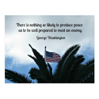 Quote by George Washington about peace and war. Postcard