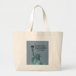 Quote by George Washington about preserving peace. Canvas Bag