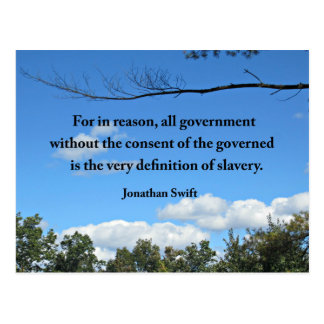 Quote by Jonathan Swift about goverment Postcard