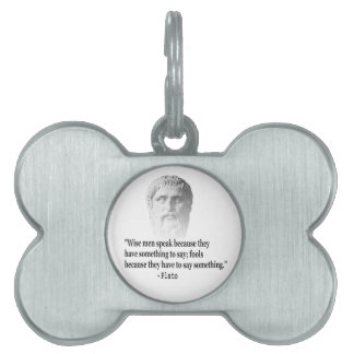 Quote By Plato Pet Tag