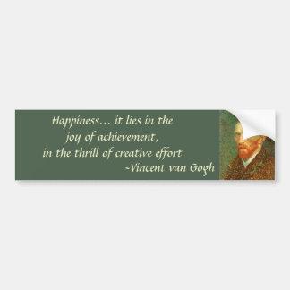 Quote by Vincent van Gogh, Vintage Self Portrait Bumper Sticker