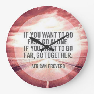 Quote Clock - African Proverb - Red