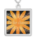 Quote Necklace - Be The Change Pendant