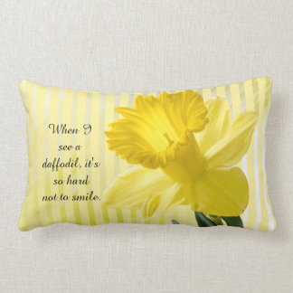 Quote on Yellow Spring Daffodil Picture Lumbar Pillow