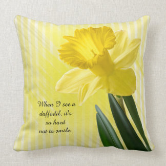 Quote on Yellow Spring Daffodil Picture Throw Pillow