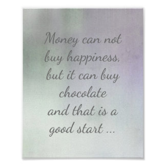 quote poster on chocolate and happiness
