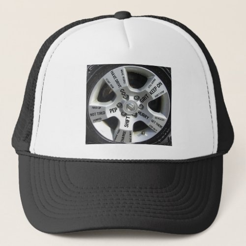 Car Wheel Motivation Words on a Hat