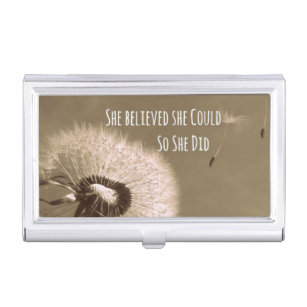 Motivational quotes business card holders cases zazzle quote she believed she could so she did business card holder reheart Choice Image