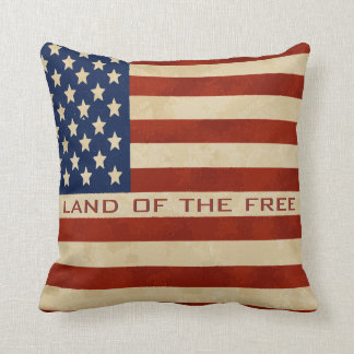 Quote - Vintage American Flag Pillow