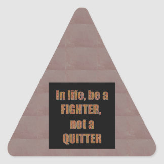 QUOTE Wisdom In life be a FIGHTER not a quitter Triangle Sticker