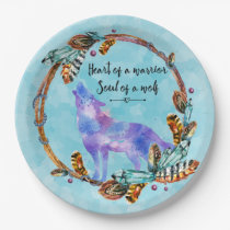 Quote with Howling Wolf in a Boho Wreath Paper Plate