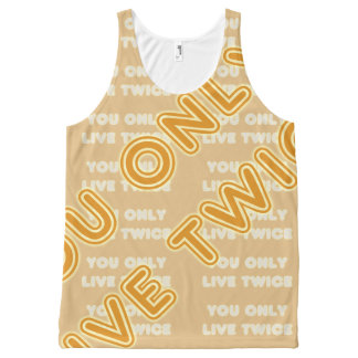 Quote You Live Only Twice Orange on any Color All-Over Print Tank Top