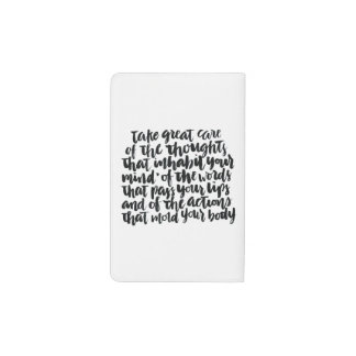 Quotes About Life: Take Great Care of Your Thought Pocket Moleskine Notebook