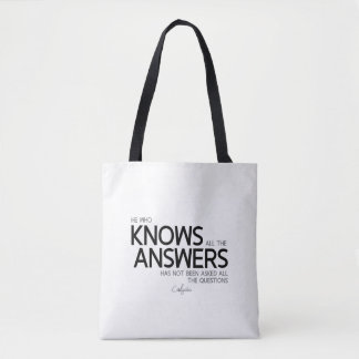 QUOTES: Confucius: Knows all the answers Tote Bag