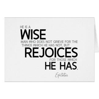 QUOTES: Epictetus: Wise man: rejoices Card