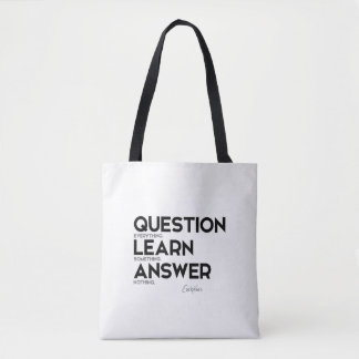 QUOTES: Euripides: Question everything Tote Bag