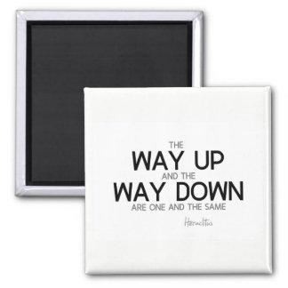 QUOTES: Heraclitus: Way up, way down Magnet