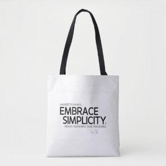 QUOTES: Lao Tzu: Embrace simplicity Tote Bag