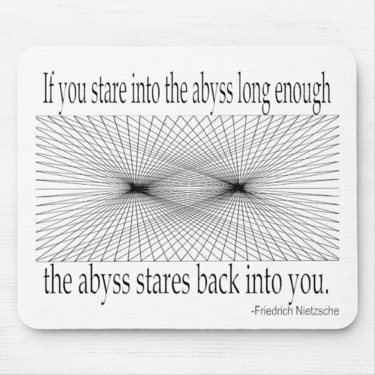 Quotes - Nietzsche, abyss - Mouse Pad