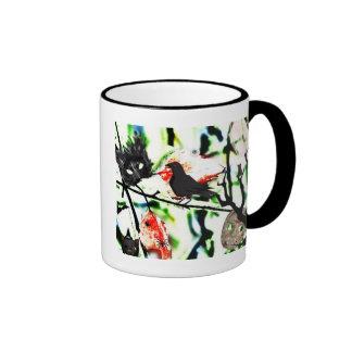 Quoth el cuervo nunca más, collage de Halloween Taza De Dos Colores