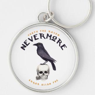 Quoth el cuervo nunca más - Edgar Allan Poe Llavero Redondo Plateado