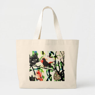 Quoth the Raven Nevermore, Halloween Collage Large Tote Bag