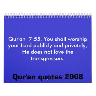Qur'an quotes Calendar