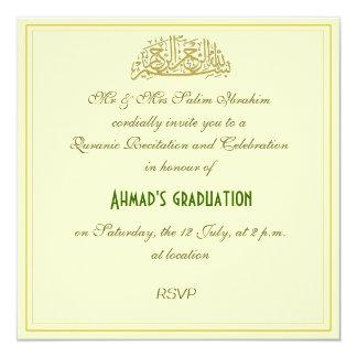 Quranic recitation muslim celebration invite 13 cm x 13 cm square invitation card