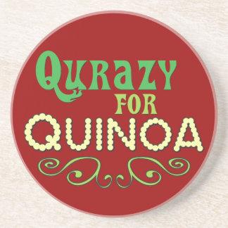 Qurazy for Quinoa © - Funny Quinoa Slogan Sandstone Coaster