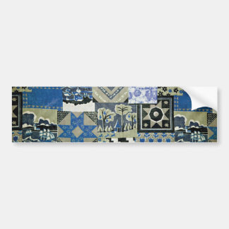 QWL_BluePatchworkQuilt SCRAPBOOKING TEXTILES BLUE Bumper Stickers