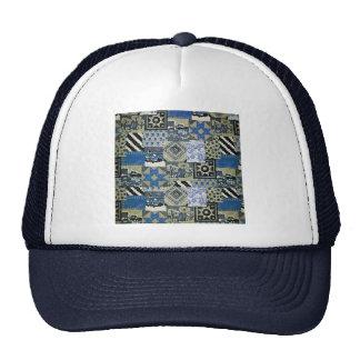 QWL_BluePatchworkQuilt SCRAPBOOKING TEXTILES BLUE Hat